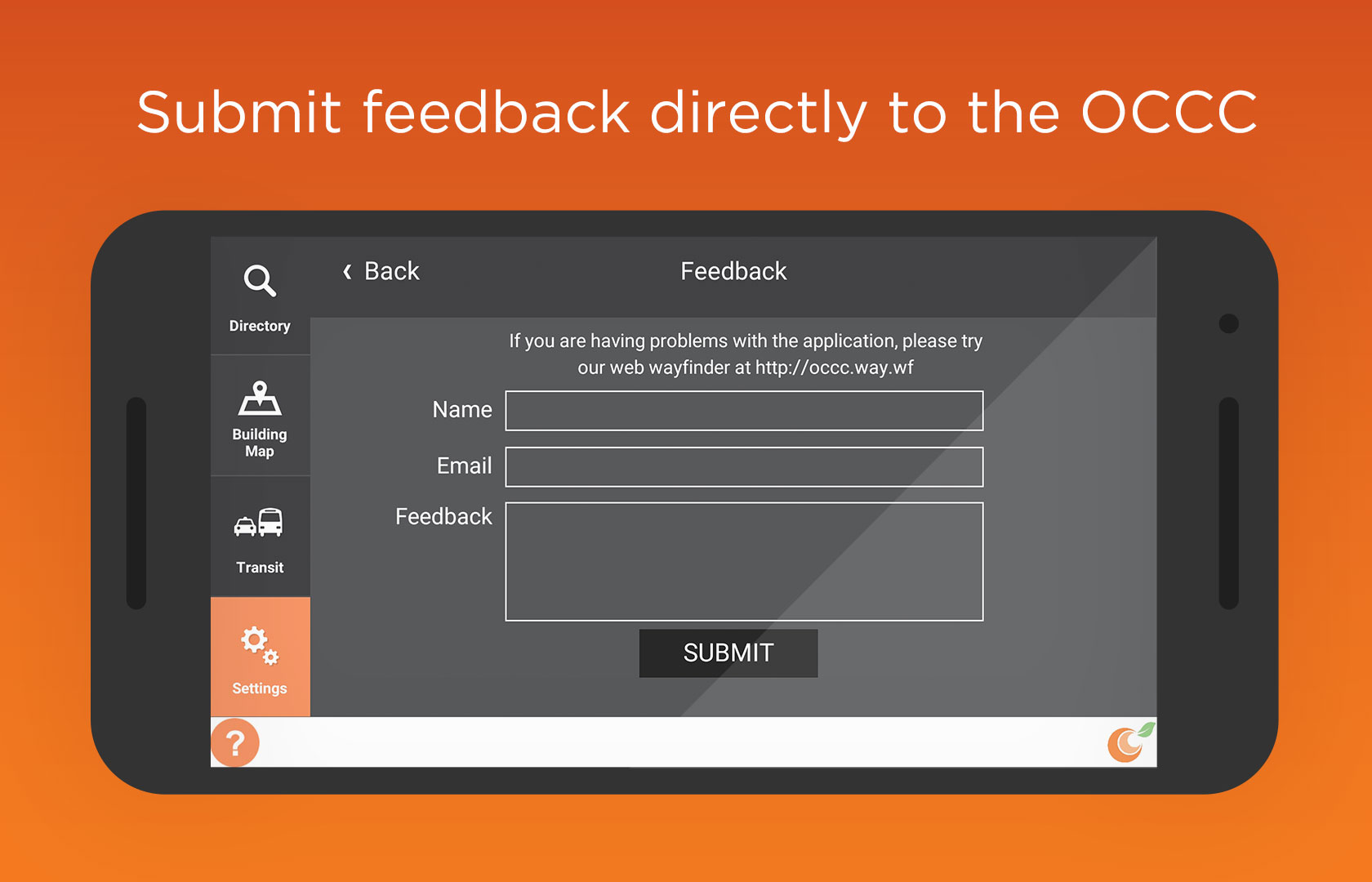 Submit feedback directly to the OCCC